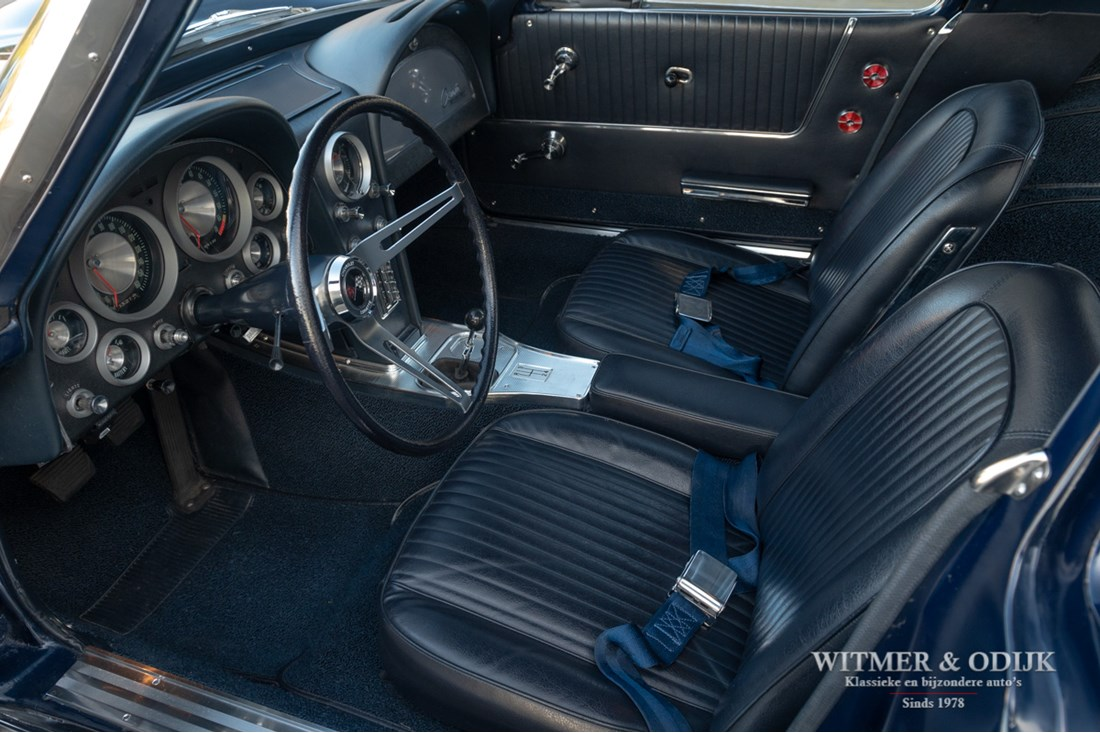 Interieur Corvette Sting Ray Split Window Coupe Rochester 360bhp Injection '63 high level restoration €152.950,-